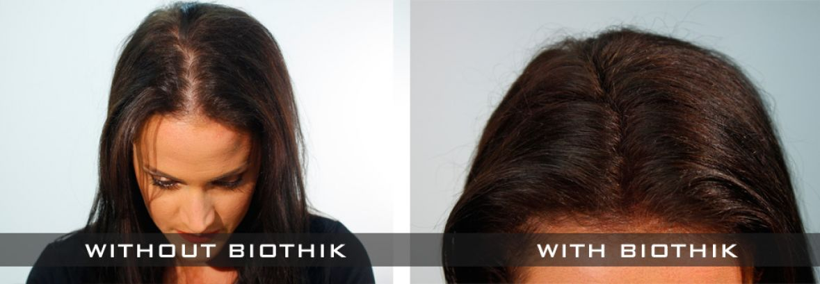 Thicker Hair WIth Biothik Hair Fibres for women
